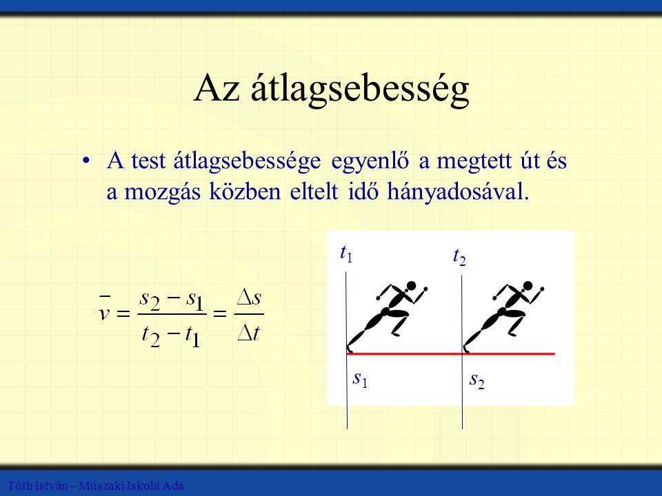 Tóth István – Műszaki Iskola Ada A pillanatnyi sebesség A test pillanatnyi sebessége megmutatja az adott test sebességét a t 0 időpontban.