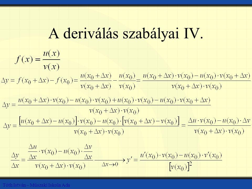 Tóth István – Műszaki Iskola Ada A deriválás szabályai IV.