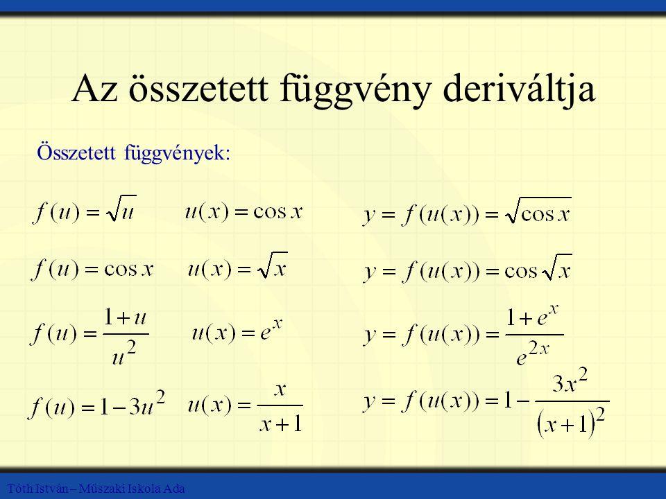 Tóth István – Műszaki Iskola Ada Az összetett függvény deriváltja Összetett függvények: