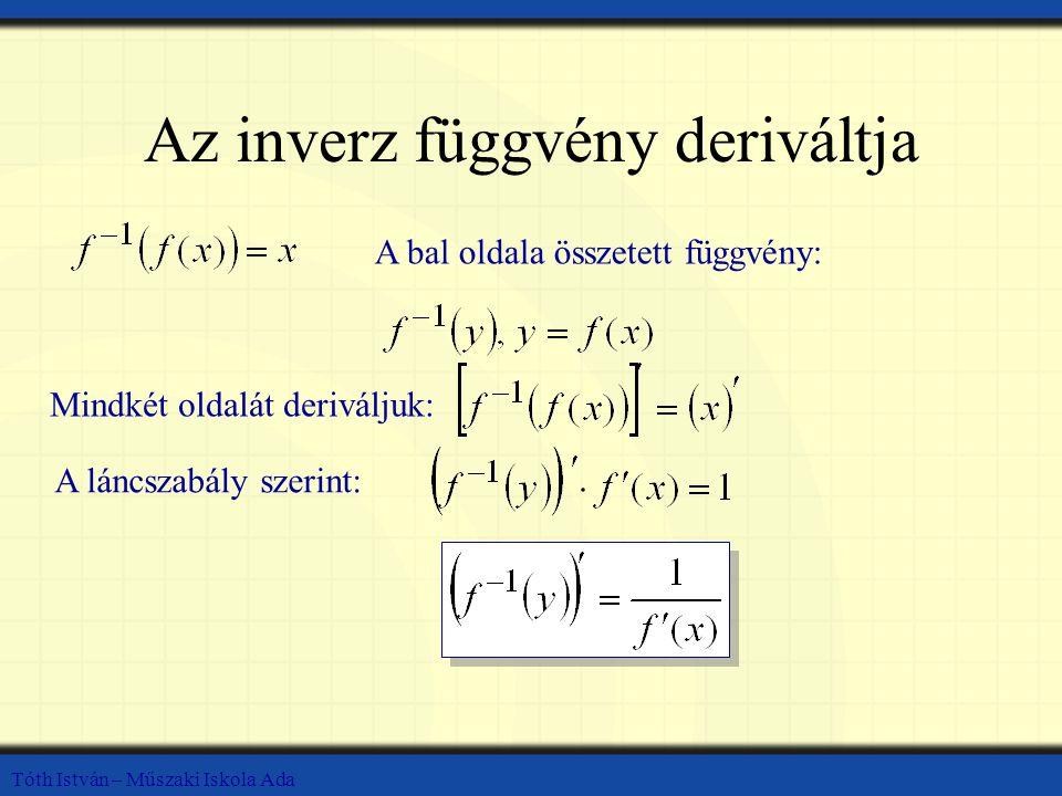 Tóth István – Műszaki Iskola Ada Az inverz függvény deriváltja Mindkét oldalát deriváljuk: A bal oldala összetett függvény: A láncszabály szerint: