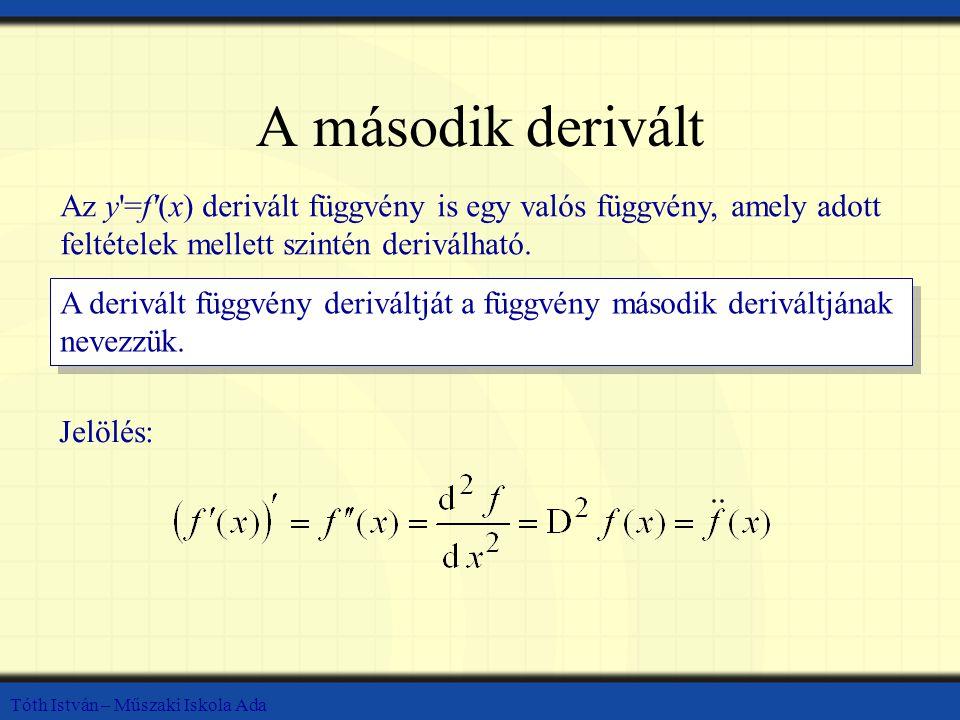 Tóth István – Műszaki Iskola Ada A második derivált Az y'=f'(x) derivált függvény is egy valós függvény, amely adott feltételek mellett szintén derivá