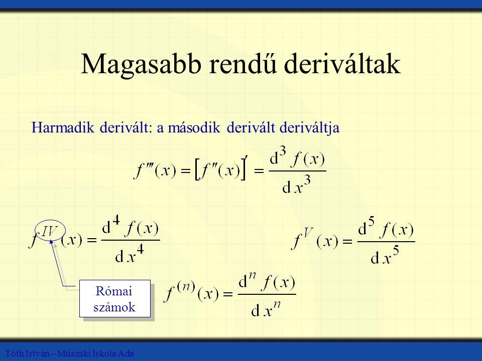 Tóth István – Műszaki Iskola Ada Magasabb rendű deriváltak Harmadik derivált: a második derivált deriváltja Római számok