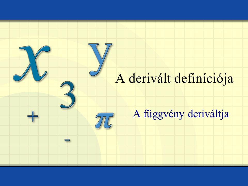 A derivált definíciója A függvény deriváltja