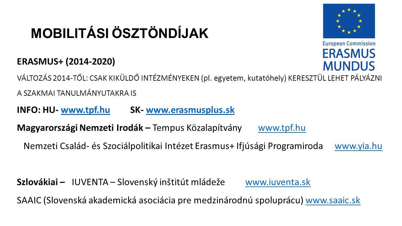 MOBILITÁSI ÖSZTÖNDÍJAK ERASMUS+ (2014-2020) VÁLTOZÁS 2014-TŐL: CSAK KIKÜLDŐ INTÉZMÉNYEKEN (pl.