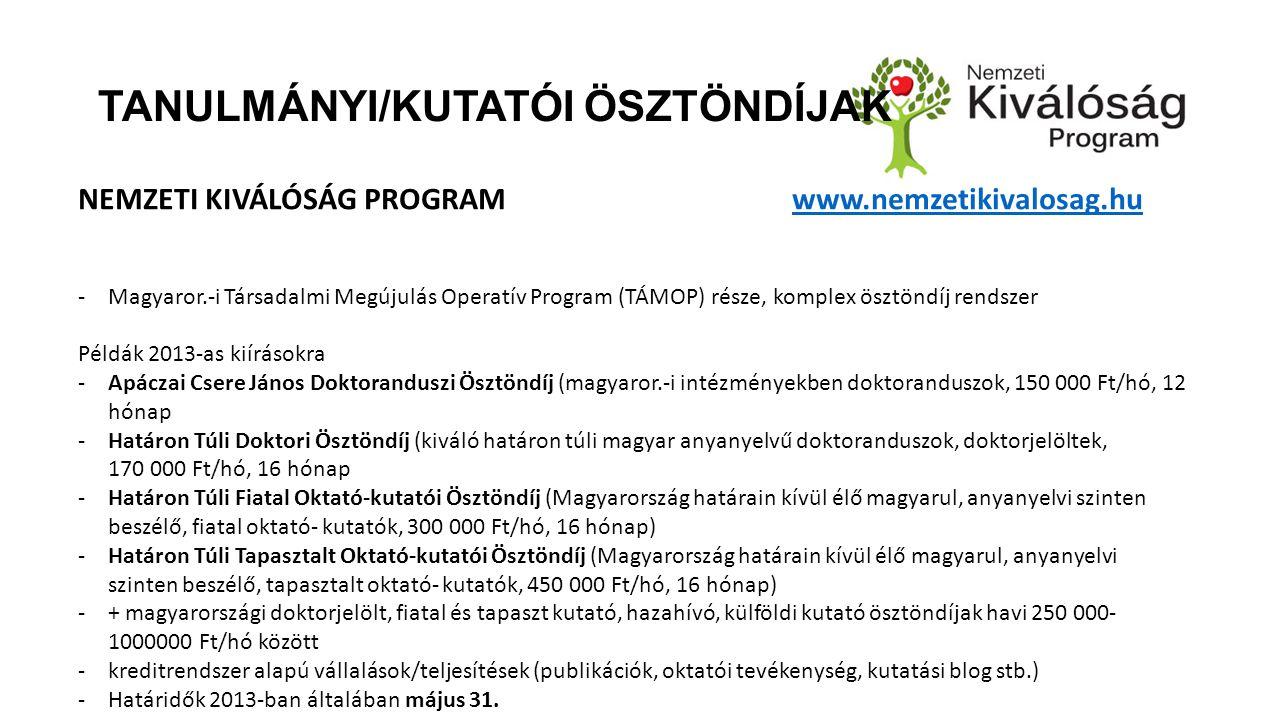 TANULMÁNYI/KUTATÓI ÖSZTÖNDÍJAK NEMZETI KIVÁLÓSÁG PROGRAM www.nemzetikivalosag.huwww.nemzetikivalosag.hu -Magyaror.-i Társadalmi Megújulás Operatív Program (TÁMOP) része, komplex ösztöndíj rendszer Példák 2013-as kiírásokra -Apáczai Csere János Doktoranduszi Ösztöndíj (magyaror.-i intézményekben doktoranduszok, 150 000 Ft/hó, 12 hónap -Határon Túli Doktori Ösztöndíj (kiváló határon túli magyar anyanyelvű doktoranduszok, doktorjelöltek, 170 000 Ft/hó, 16 hónap -Határon Túli Fiatal Oktató-kutatói Ösztöndíj (Magyarország határain kívül élő magyarul, anyanyelvi szinten beszélő, fiatal oktató- kutatók, 300 000 Ft/hó, 16 hónap) -Határon Túli Tapasztalt Oktató-kutatói Ösztöndíj (Magyarország határain kívül élő magyarul, anyanyelvi szinten beszélő, tapasztalt oktató- kutatók, 450 000 Ft/hó, 16 hónap) -+ magyarországi doktorjelölt, fiatal és tapaszt kutató, hazahívó, külföldi kutató ösztöndíjak havi 250 000- 1000000 Ft/hó között -kreditrendszer alapú vállalások/teljesítések (publikációk, oktatói tevékenység, kutatási blog stb.) -Határidők 2013-ban általában május 31.
