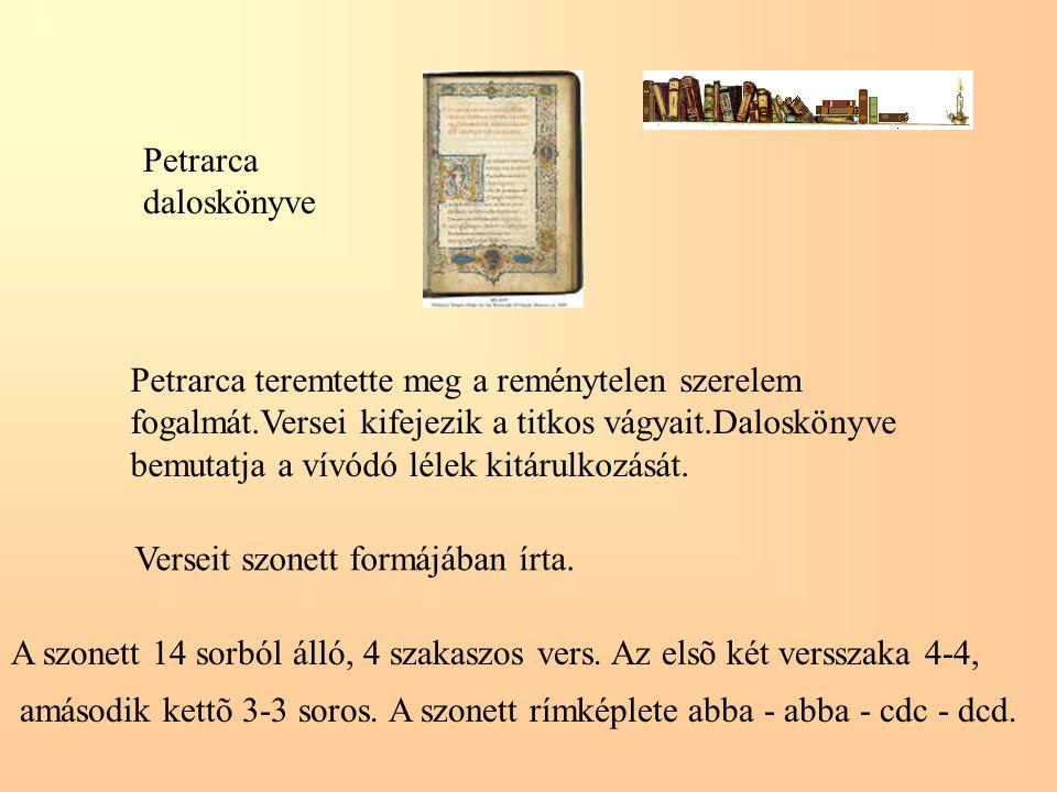 Petrarca daloskönyve Petrarca teremtette meg a reménytelen szerelem fogalmát.Versei kifejezik a titkos vágyait.Daloskönyve bemutatja a vívódó lélek ki