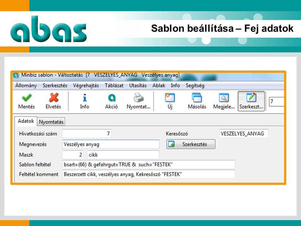 Sablon beállítása – Fej adatok