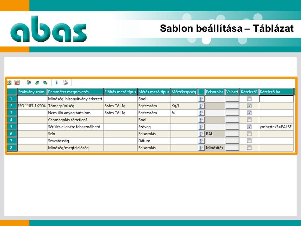 Sablon beállítása – Táblázat