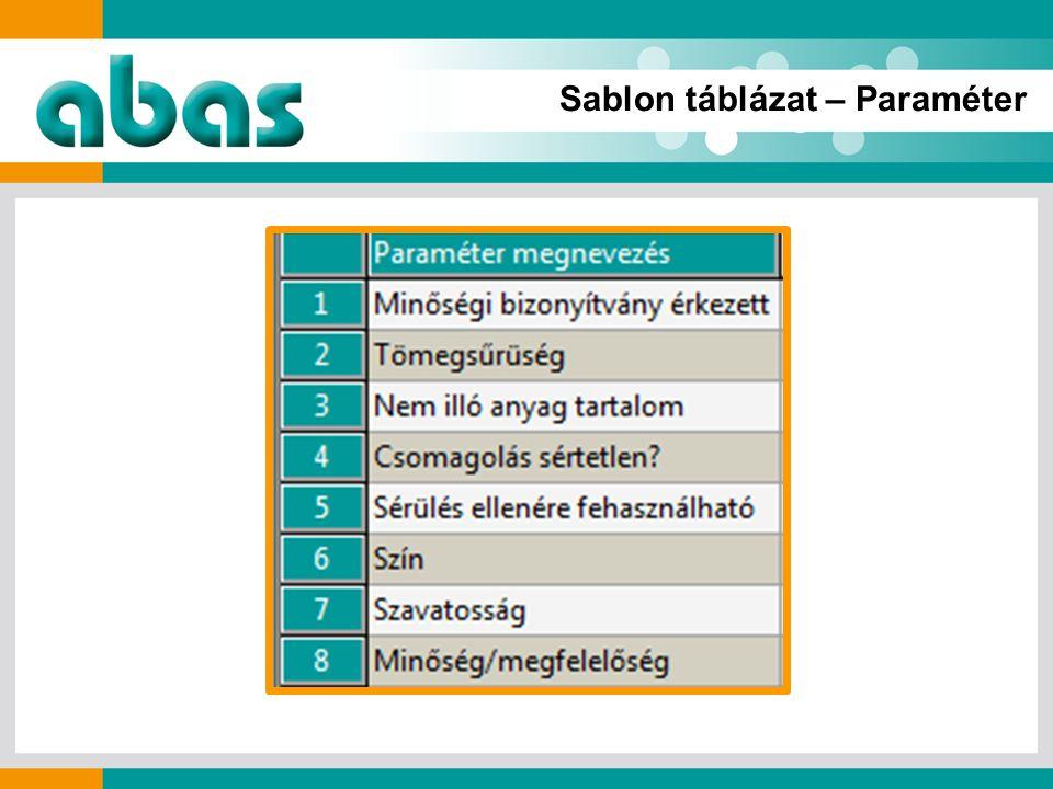 Sablon táblázat – Paraméter