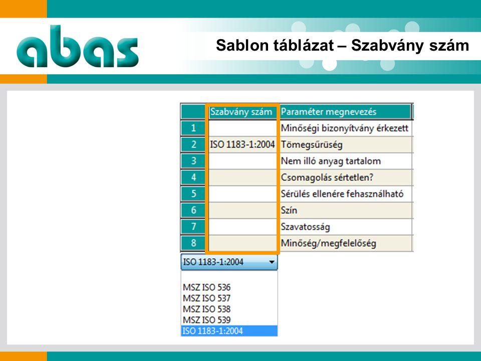 Sablon táblázat – Szabvány szám
