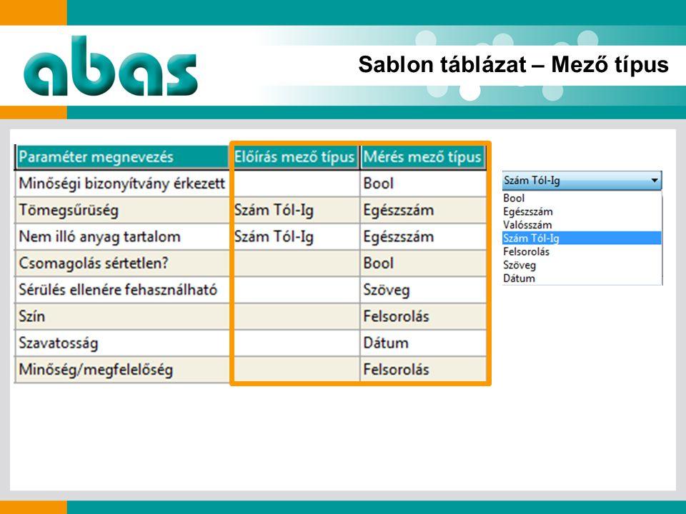 Sablon táblázat – Mező típus