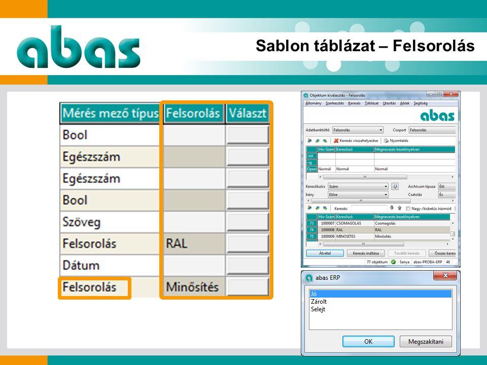 Sablon táblázat – Felsorolás