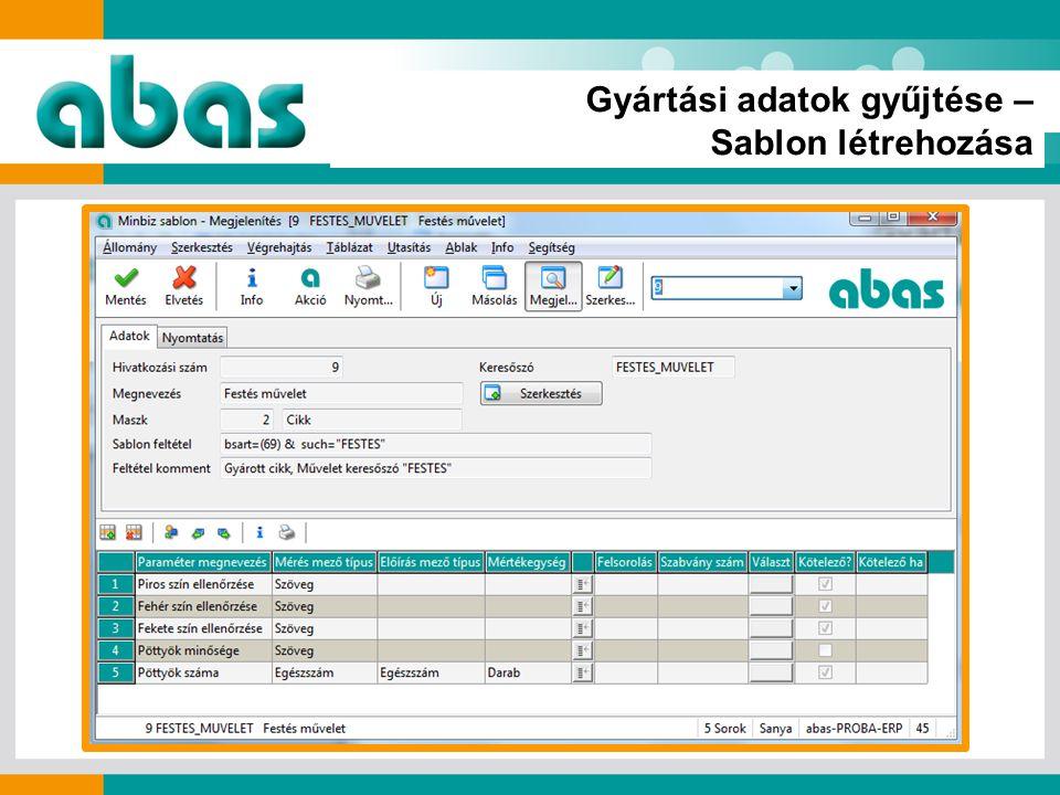 Gyártási adatok gyűjtése – Sablon létrehozása