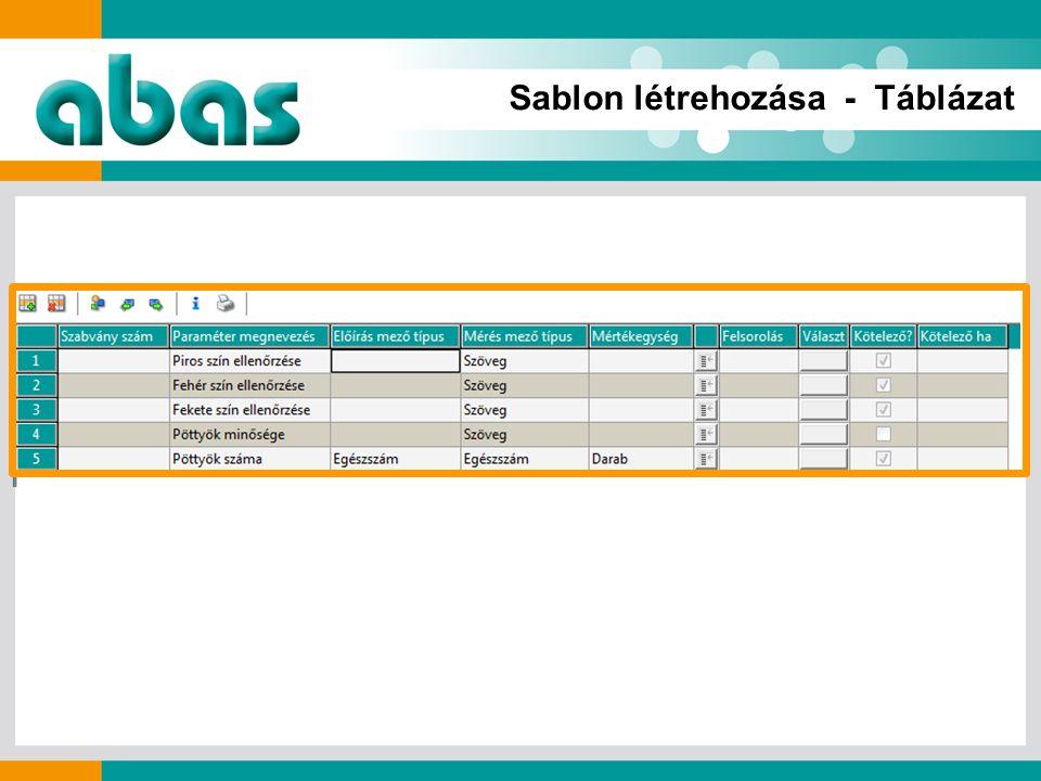 Sablon létrehozása - Táblázat