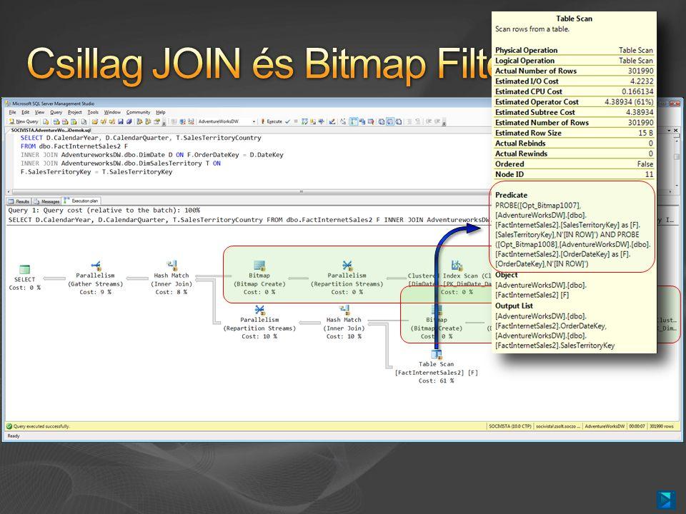 Új, belső módszer csillagtáblákra épülő JOIN- ok gyorsítására Hatalmas, n x 100 millió soros táblákra is Bloom Filter implementáció Feltételek Egyoszlopos, egyenlőség alapú JOIN Integer a legjobb, in-row optimization Csak párhuzamos végrehajtási tervben A Tény tábla legyen a legnagyobb Sok szál és memória kell hozzá
