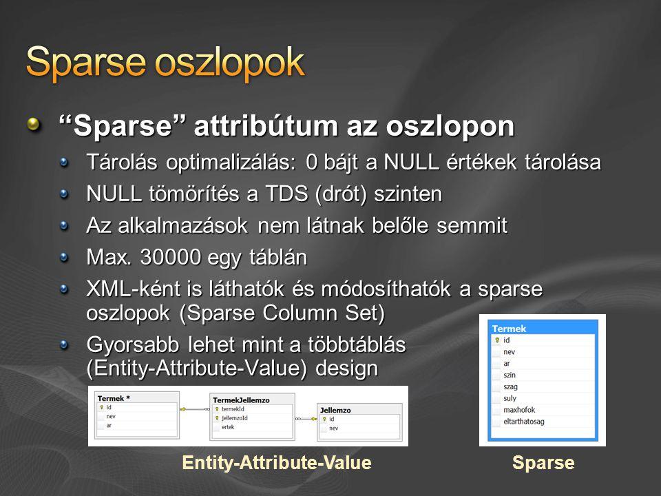 Sparse attribútum az oszlopon Tárolás optimalizálás: 0 bájt a NULL értékek tárolása NULL tömörítés a TDS (drót) szinten Az alkalmazások nem látnak belőle semmit Max.