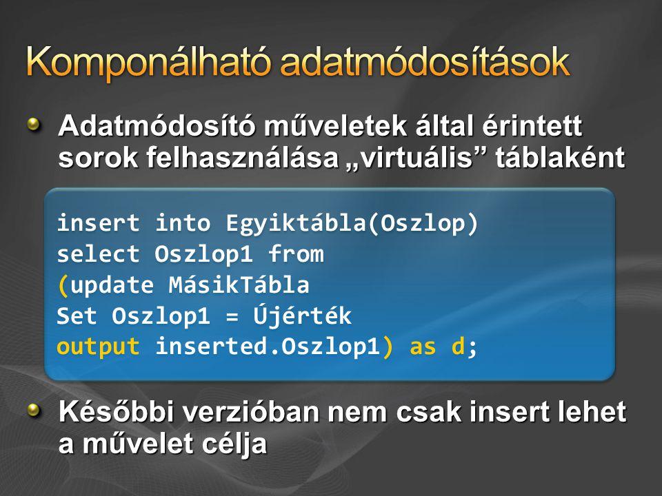 """Adatmódosító műveletek által érintett sorok felhasználása """"virtuális táblaként Későbbi verzióban nem csak insert lehet a művelet célja insert into Egyiktábla(Oszlop) select Oszlop1 from (update MásikTábla Set Oszlop1 = Újérték output inserted.Oszlop1) as d; insert into Egyiktábla(Oszlop) select Oszlop1 from (update MásikTábla Set Oszlop1 = Újérték output inserted.Oszlop1) as d;"""