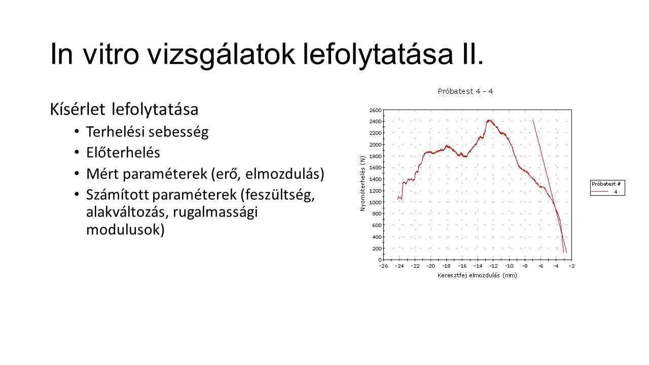 In vitro vizsgálatok lefolytatása II. Kísérlet lefolytatása Terhelési sebesség Előterhelés Mért paraméterek (erő, elmozdulás) Számított paraméterek (f