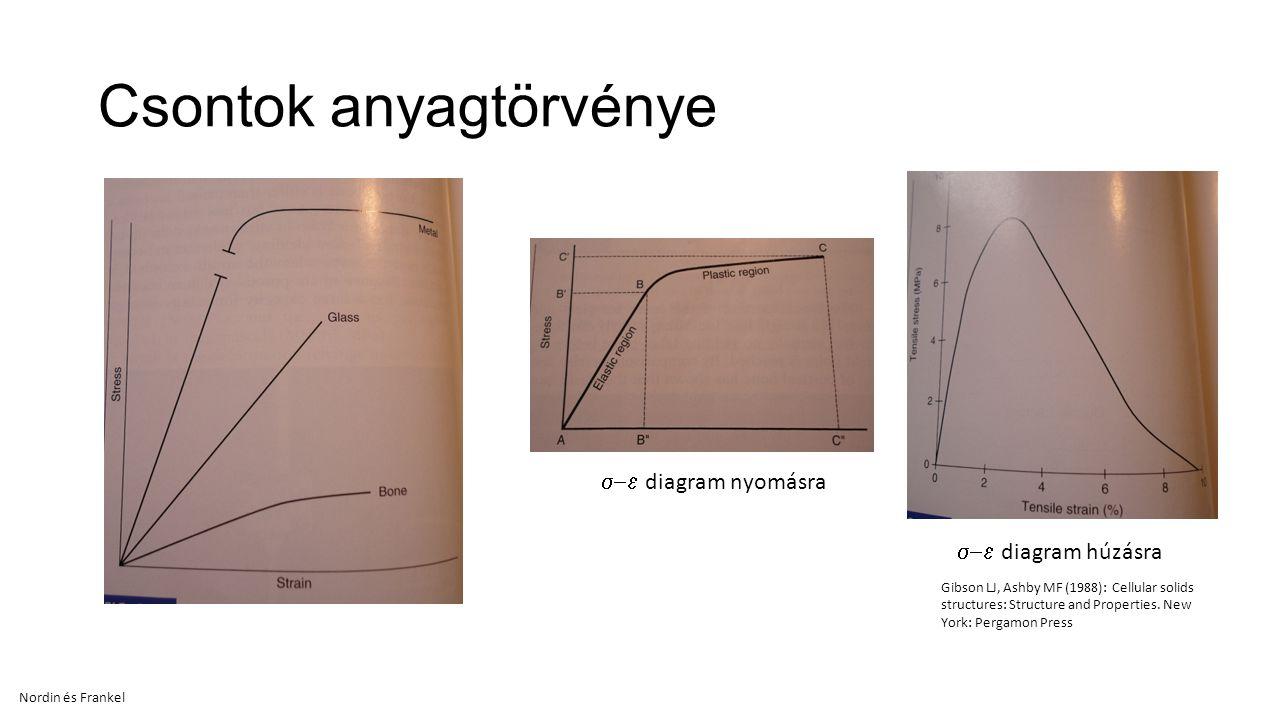 Csontok anyagtörvénye  diagram nyomásra  diagram húzásra Nordin és Frankel Gibson LJ, Ashby MF (1988): Cellular solids structures: Structure and