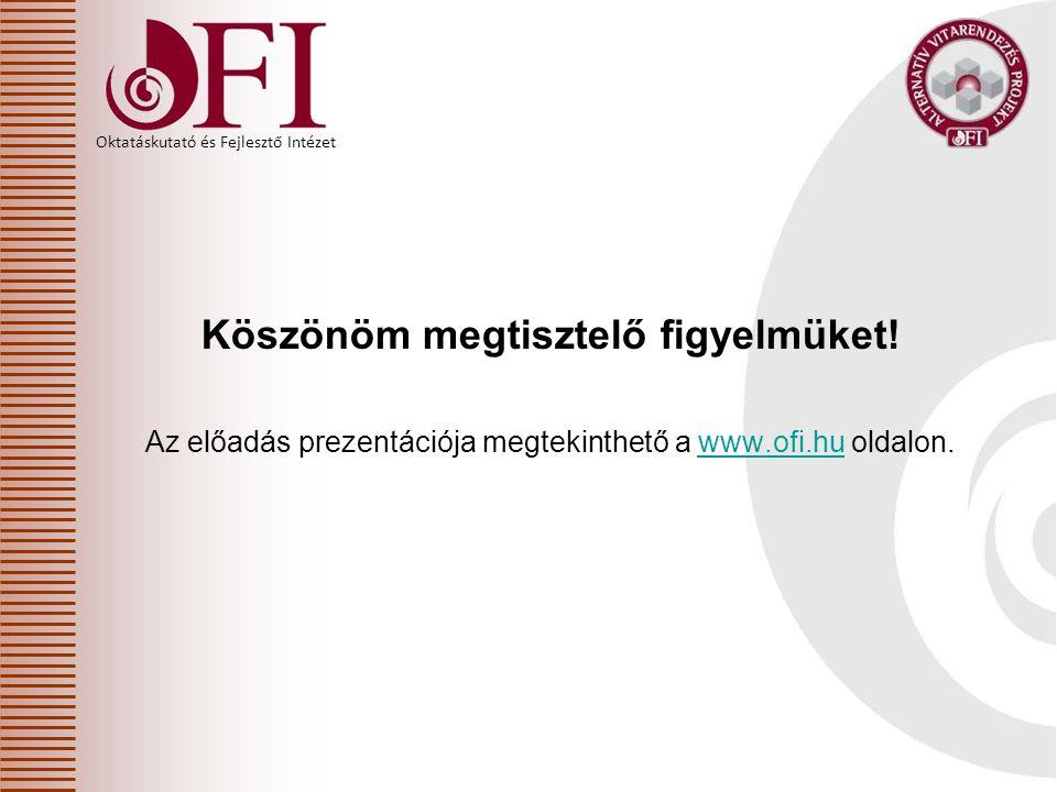 Oktatáskutató és Fejlesztő Intézet Köszönöm megtisztelő figyelmüket! Az előadás prezentációja megtekinthető a www.ofi.hu oldalon.www.ofi.hu
