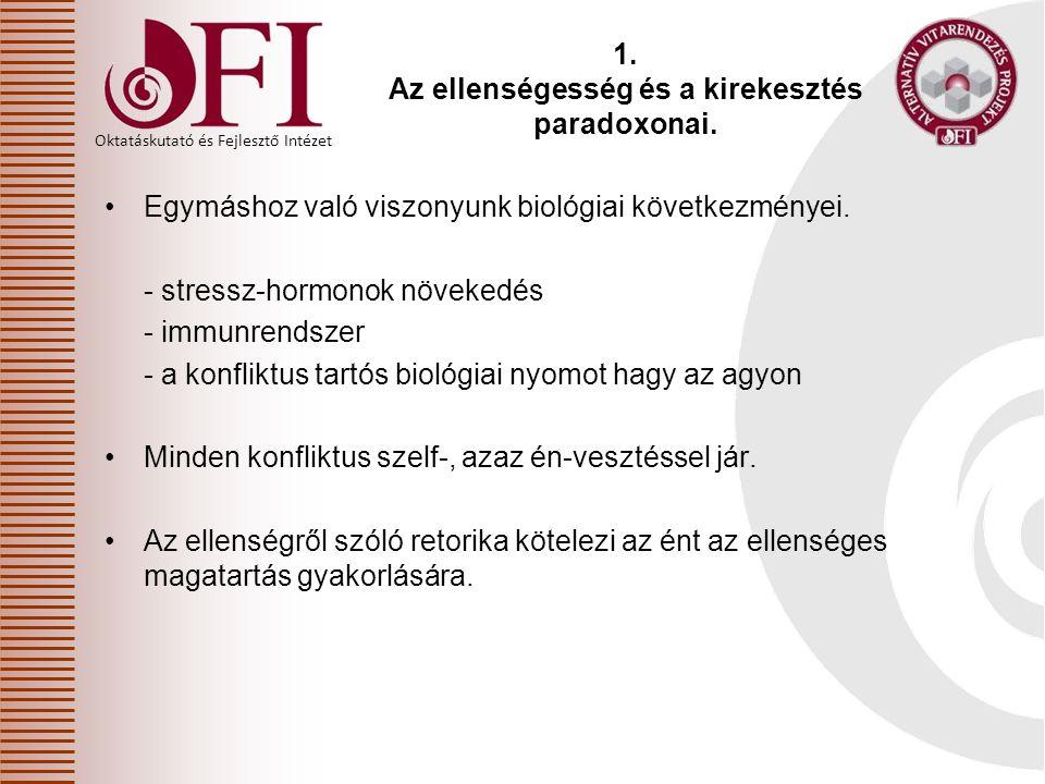 Oktatáskutató és Fejlesztő Intézet 1. Az ellenségesség és a kirekesztés paradoxonai. Egymáshoz való viszonyunk biológiai következményei. - stressz-hor
