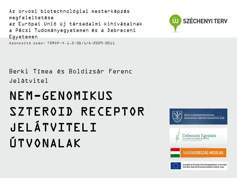 NEM-GENOMIKUS SZTEROID RECEPTOR JELÁTVITELI ÚTVONALAK Az orvosi biotechnológiai mesterképzés megfeleltetése az Európai Unió új társadalmi kihívásainak