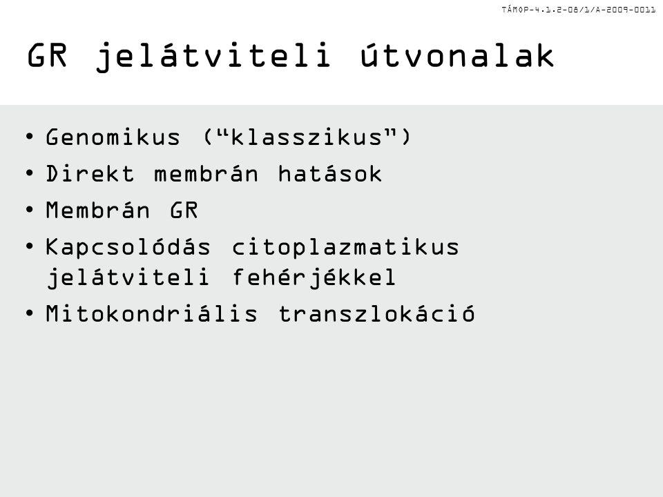 """TÁMOP-4.1.2-08/1/A-2009-0011 GR jelátviteli útvonalak Genomikus (""""klasszikus"""") Direkt membrán hatások Membrán GR Kapcsolódás citoplazmatikus jelátvite"""