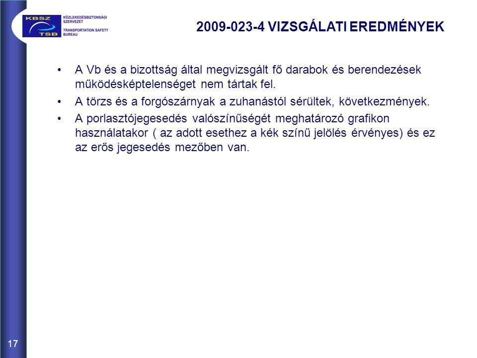 17 A Vb és a bizottság által megvizsgált fő darabok és berendezések működésképtelenséget nem tártak fel.