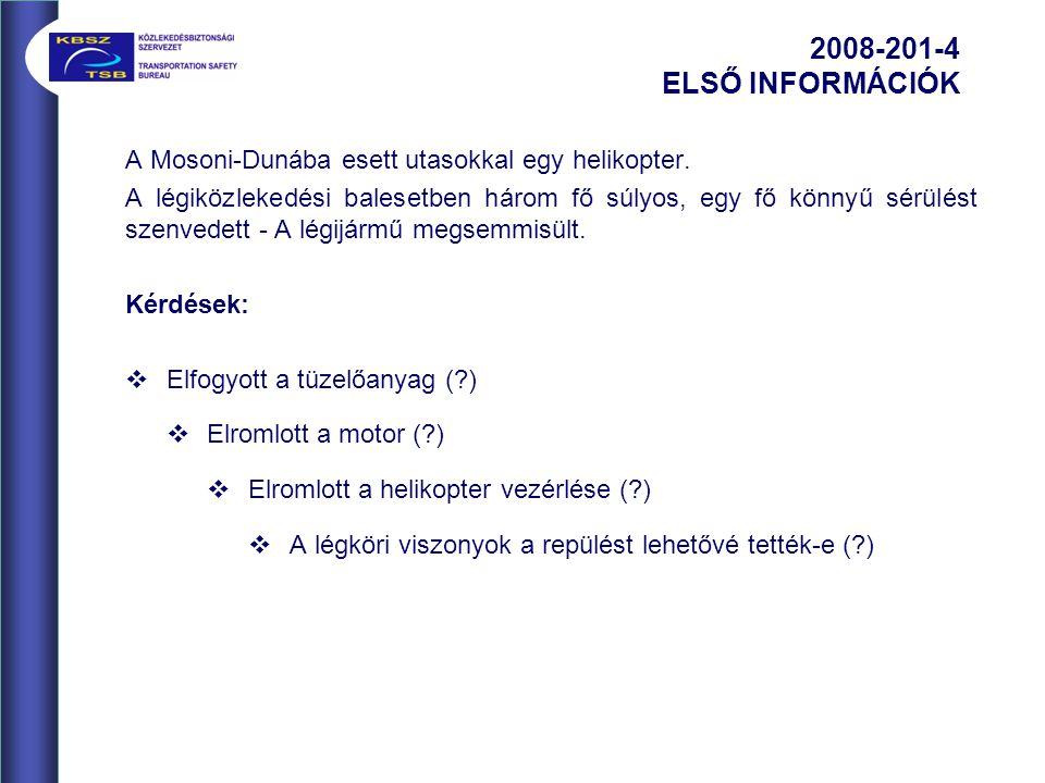 A Mosoni-Dunába esett utasokkal egy helikopter.