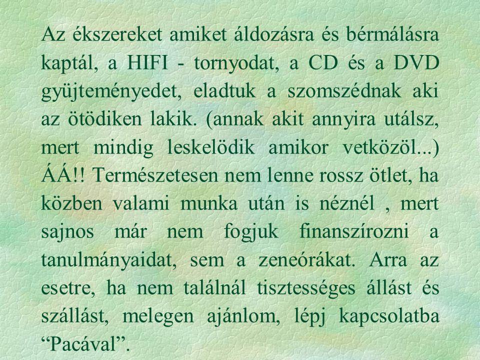 Az ékszereket amiket áldozásra és bérmálásra kaptál, a HIFI - tornyodat, a CD és a DVD gyüjteményedet, eladtuk a szomszédnak aki az ötödiken lakik. (a