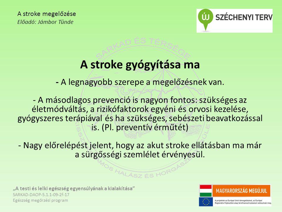 A stroke gyógyítása ma - A legnagyobb szerepe a megelőzésnek van. - A másodlagos prevenció is nagyon fontos: szükséges az életmódváltás, a rizikófakto