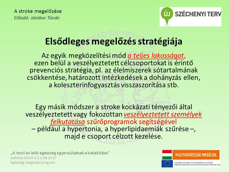 Elsődleges megelőzés stratégiája Az egyik megközelítési mód a teljes lakosságot, ezen belül a veszélyeztetett célcsoportokat is érintő prevenciós stra