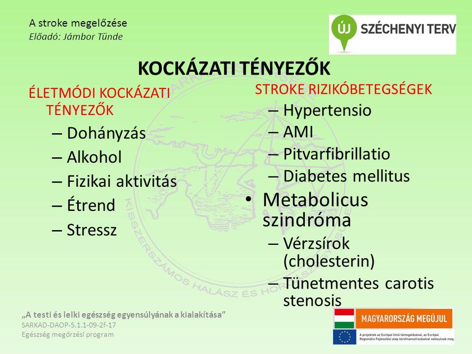 """KOCKÁZATI TÉNYEZŐK """"A testi és lelki egészség egyensúlyának a kialakítása"""" SARKAD-DAOP-5.1.1-09-2f-17 Egészség megőrzési program A stroke megelőzése E"""