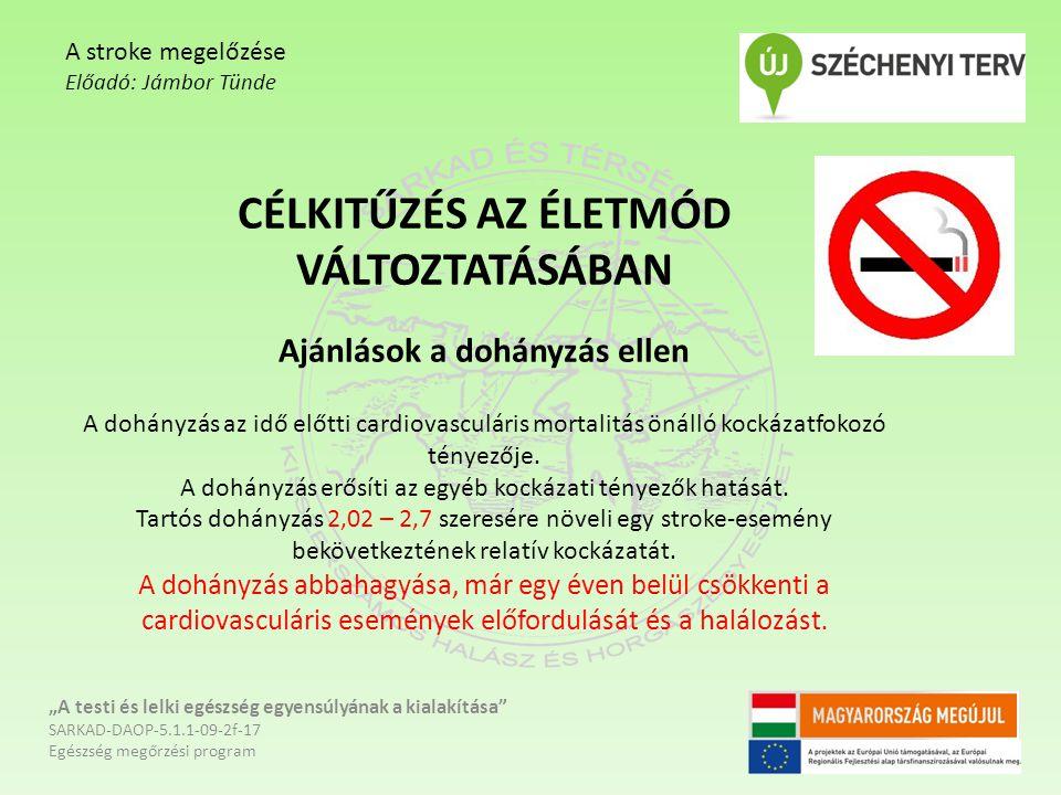 CÉLKITŰZÉS AZ ÉLETMÓD VÁLTOZTATÁSÁBAN Ajánlások a dohányzás ellen A dohányzás az idő előtti cardiovasculáris mortalitás önálló kockázatfokozó tényezőj