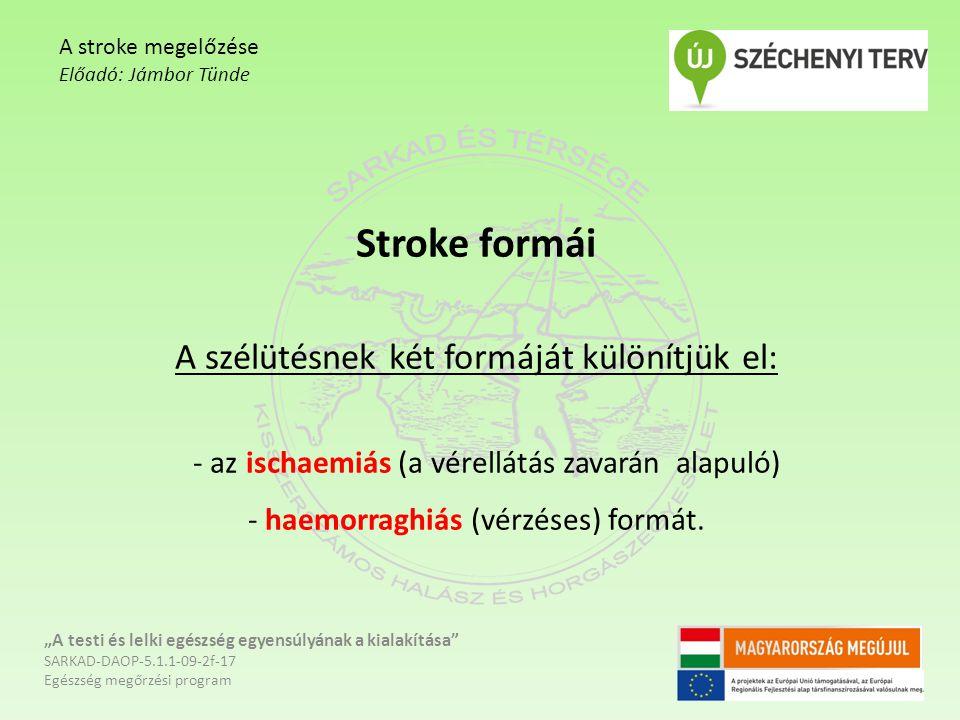 """Stroke formái A szélütésnek két formáját különítjük el: - az ischaemiás (a vérellátás zavarán alapuló) - haemorraghiás (vérzéses) formát. """"A testi és"""