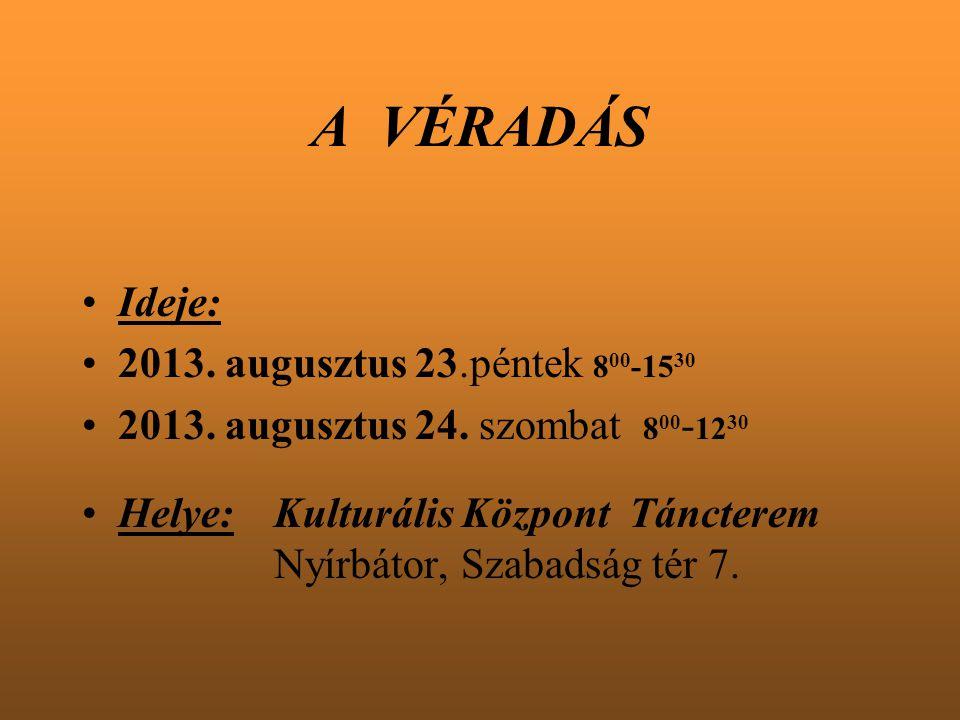 A VÉRADÁS Ideje: 2013. augusztus 23.péntek 8 00 -15 30 2013. augusztus 24. szombat 8 00 - 12 30 Helye:Kulturális Központ Táncterem Nyírbátor, Szabadsá