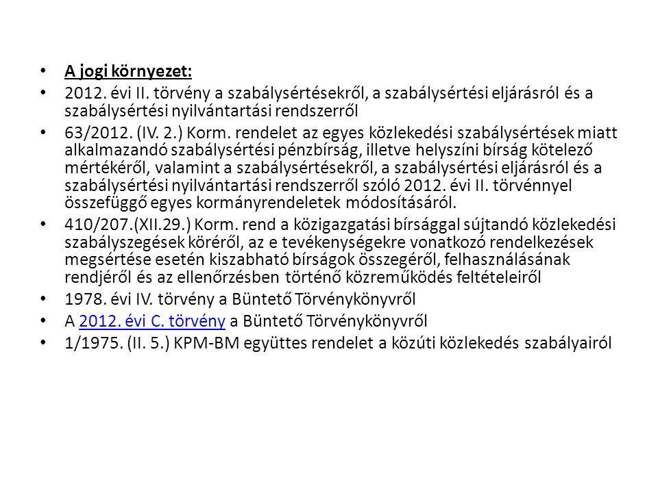 A jogi környezet: 2012. évi II. törvény a szabálysértésekről, a szabálysértési eljárásról és a szabálysértési nyilvántartási rendszerről 63/2012. (IV.