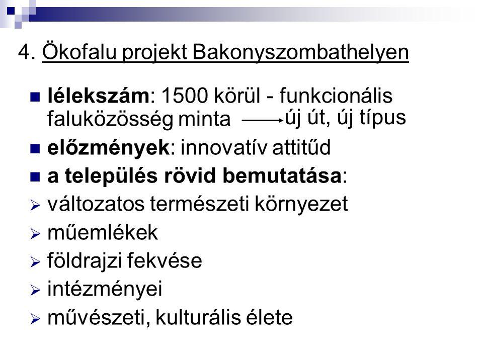 4. Ökofalu projekt Bakonyszombathelyen lélekszám: 1500 körül - funkcionális faluközösség minta előzmények: innovatív attitűd a település rövid bemutat