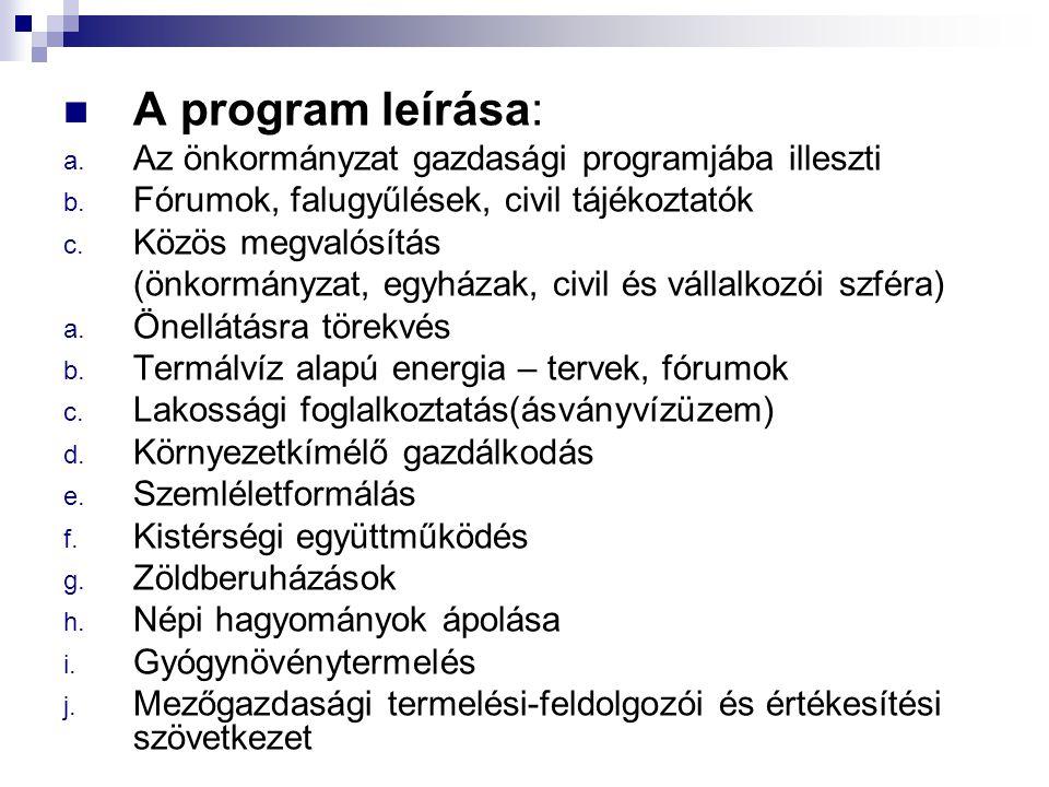 A program leírása: a. Az önkormányzat gazdasági programjába illeszti b. Fórumok, falugyűlések, civil tájékoztatók c. Közös megvalósítás (önkormányzat,