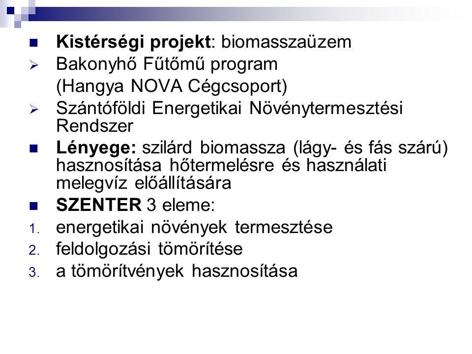 Kistérségi projekt: biomasszaüzem  Bakonyhő Fűtőmű program (Hangya NOVA Cégcsoport)  Szántóföldi Energetikai Növénytermesztési Rendszer Lényege: szi