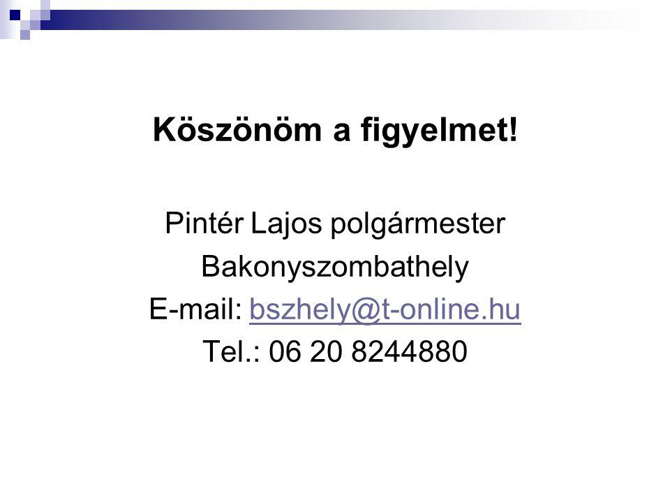 Köszönöm a figyelmet! Pintér Lajos polgármester Bakonyszombathely E-mail: bszhely@t-online.hubszhely@t-online.hu Tel.: 06 20 8244880