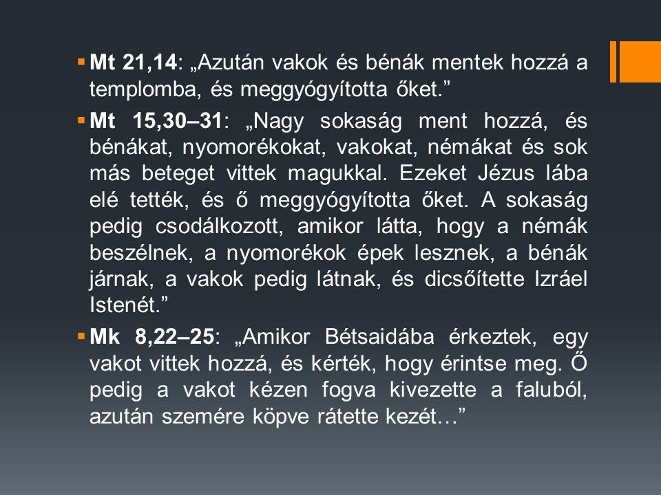 """ Mt 21,14: """"Azután vakok és bénák mentek hozzá a templomba, és meggyógyította őket.  Mt 15,30–31: """"Nagy sokaság ment hozzá, és bénákat, nyomorékokat, vakokat, némákat és sok más beteget vittek magukkal."""