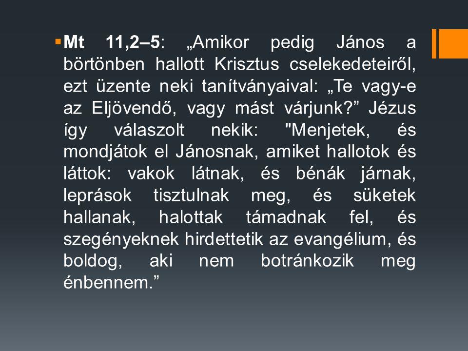 """ Mt 11,2–5: """"Amikor pedig János a börtönben hallott Krisztus cselekedeteiről, ezt üzente neki tanítványaival: """"Te vagy-e az Eljövendő, vagy mást várjunk? Jézus így válaszolt nekik: Menjetek, és mondjátok el Jánosnak, amiket hallotok és láttok: vakok látnak, és bénák járnak, leprások tisztulnak meg, és süketek hallanak, halottak támadnak fel, és szegényeknek hirdettetik az evangélium, és boldog, aki nem botránkozik meg énbennem."""