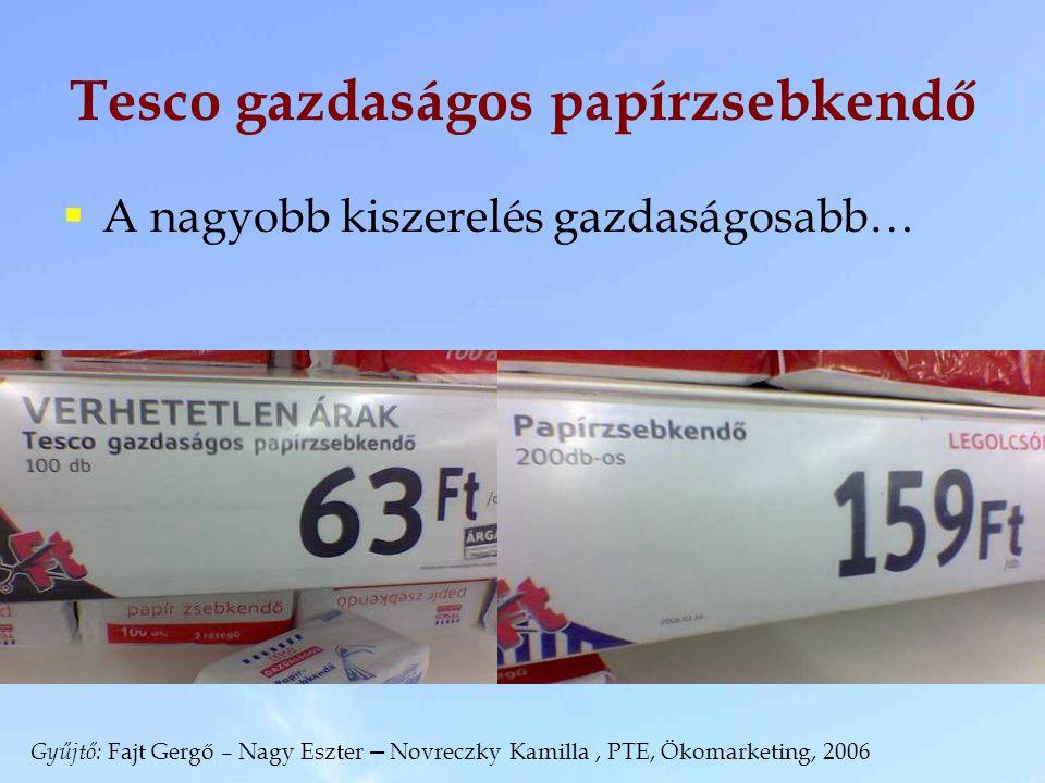 Tesco gazdaságos papírzsebkendő  A nagyobb kiszerelés gazdaságosabb… Gyűjtő: Fajt Gergő – Nagy Eszter – Novreczky Kamilla, PTE, Ökomarketing, 2006