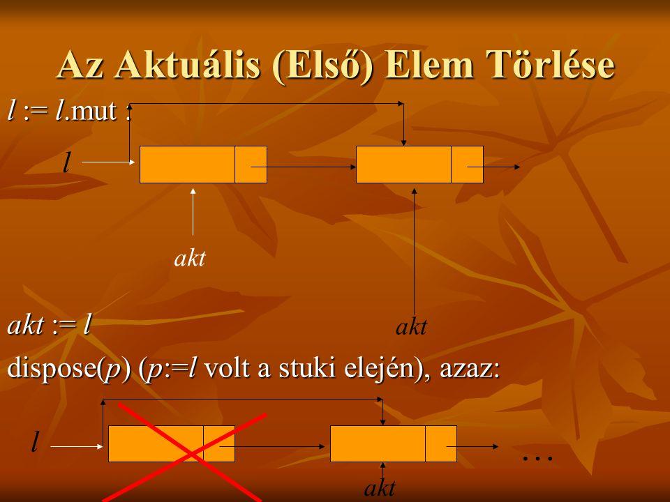 Az Aktuális (Első) Elem Törlése l := l.mut : akt := l dispose(p) (p:=l volt a stuki elején), azaz: l … akt l