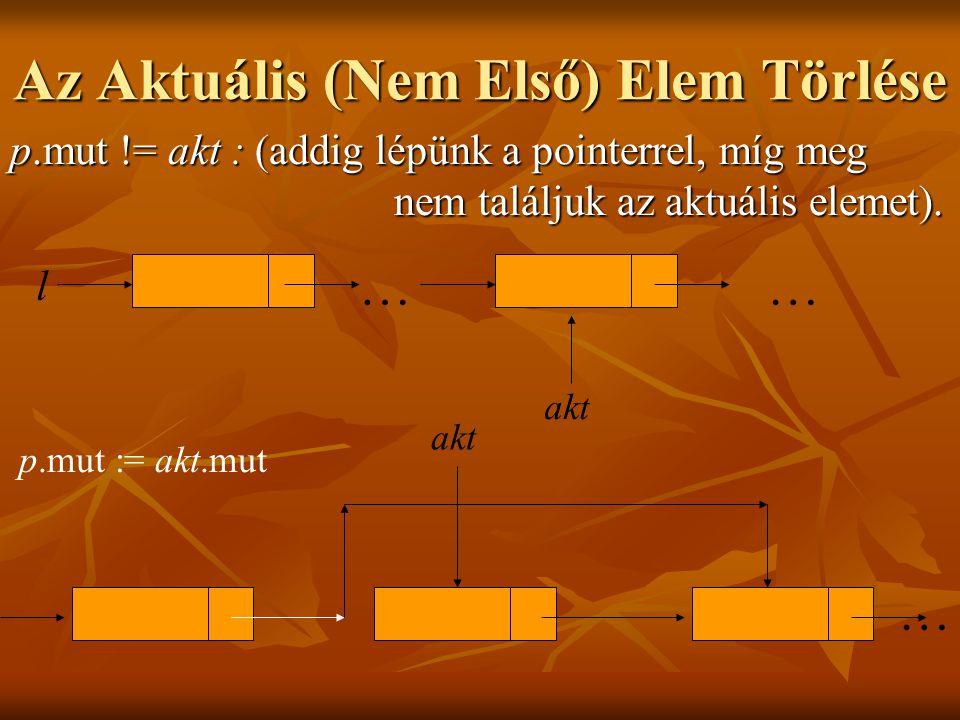 Az Aktuális (Nem Első) Elem Törlése p.mut != akt : (addig lépünk a pointerrel, míg meg nem találjuk az aktuális elemet).