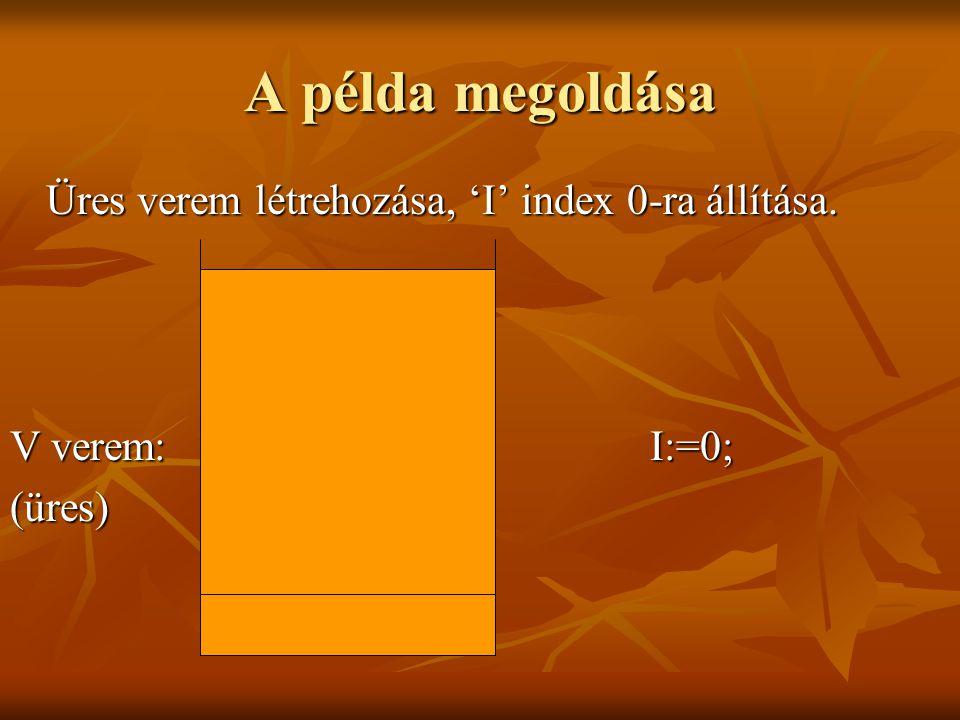 A példa megoldása Az első elem - nyitózárójel.