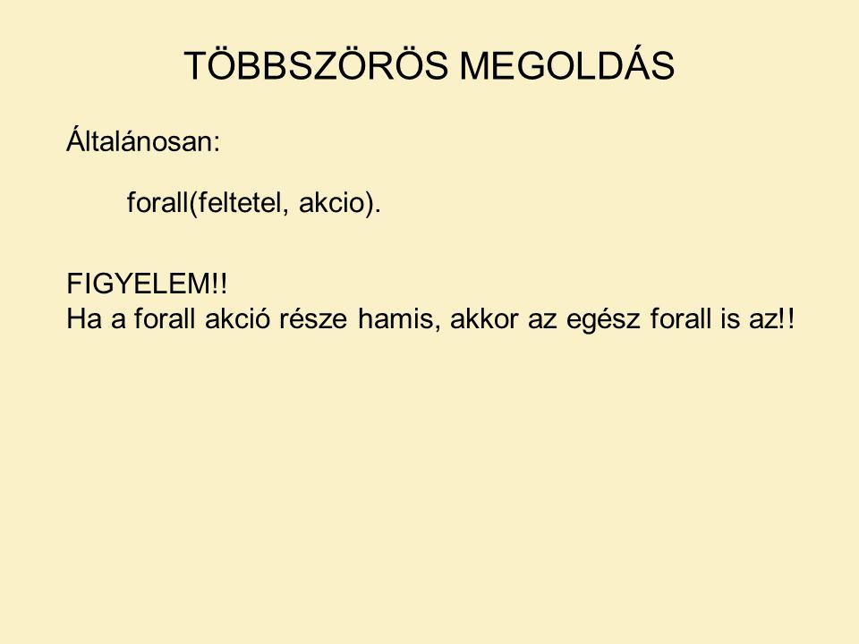 TÖBBSZÖRÖS MEGOLDÁS Általánosan: forall(feltetel, akcio).