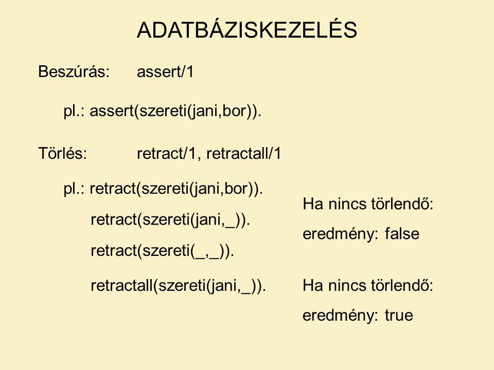 Beszúrás:assert/1 ADATBÁZISKEZELÉS pl.: assert(szereti(jani,bor)).
