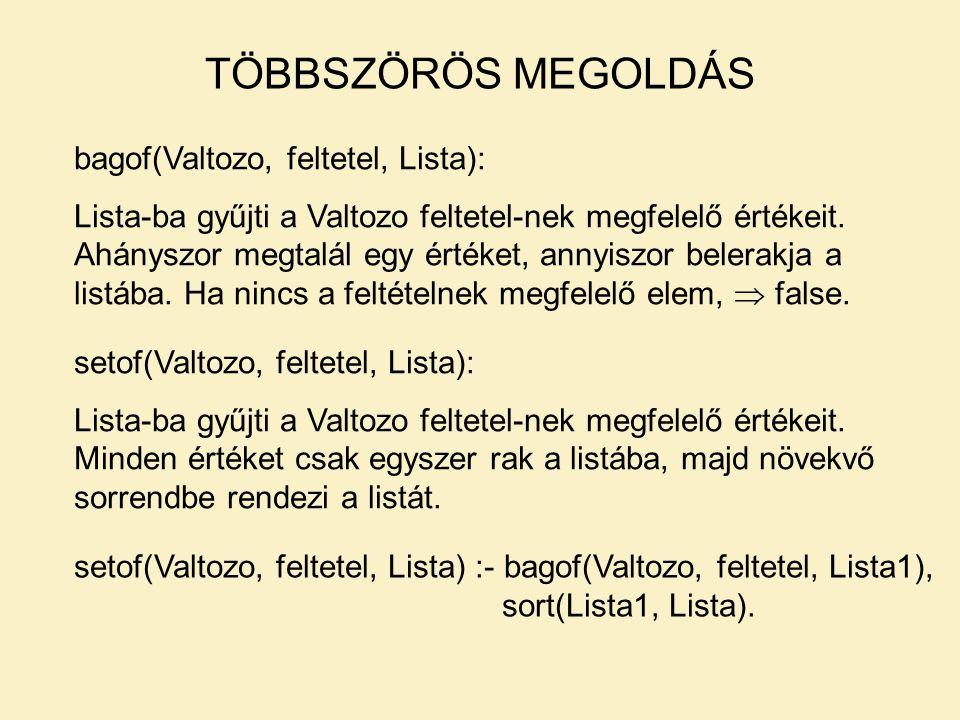TÖBBSZÖRÖS MEGOLDÁS bagof(Valtozo, feltetel, Lista): Lista-ba gyűjti a Valtozo feltetel-nek megfelelő értékeit.